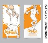 sport banner set. hand drawn...   Shutterstock .eps vector #735493192