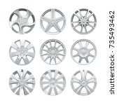 close up of rims car alloy... | Shutterstock .eps vector #735493462
