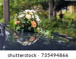 wedding car decorations. | Shutterstock . vector #735494866