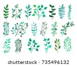 decorative watercolor leaves... | Shutterstock . vector #735496132