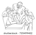 business partners distract man... | Shutterstock .eps vector #735499402