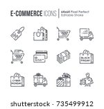 set of e commerce and shopping... | Shutterstock .eps vector #735499912