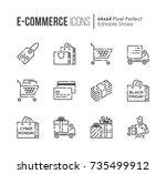 set of e commerce and shopping... | Shutterstock .eps vector #735499912