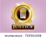 gold emblem with contract icon ... | Shutterstock .eps vector #735501058