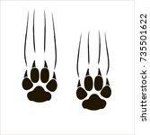 footprints of a big cat.... | Shutterstock .eps vector #735501622