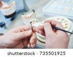 dental prosthesis work.... | Shutterstock . vector #735501925