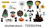 halloween party  hand drawn...   Shutterstock .eps vector #735501946