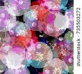seamless pattern ethnic design. ... | Shutterstock . vector #735503272
