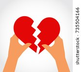 hands with broken heart icon.... | Shutterstock .eps vector #735504166