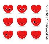 cute  funny and happy heart set ... | Shutterstock .eps vector #735504172