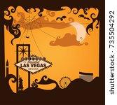 halloween with welcome las... | Shutterstock .eps vector #735504292
