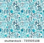 watercolor floral seamless... | Shutterstock . vector #735505108