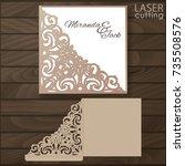 die laser cut wedding card... | Shutterstock .eps vector #735508576
