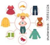 little girl  child  kid in... | Shutterstock .eps vector #735511126