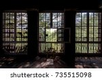A view looking out to a pine forest inside a barred day room at the long abandoned Hudson River State Hospital in New York.