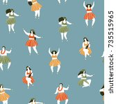 hawaii dance seamless pattern.... | Shutterstock .eps vector #735515965