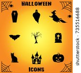 halloween icons | Shutterstock .eps vector #735516688