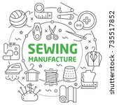sewing manufacture linear... | Shutterstock .eps vector #735517852