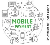 mobile payment linear... | Shutterstock .eps vector #735518545