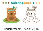 coloring page with cute boho... | Shutterstock .eps vector #735519346