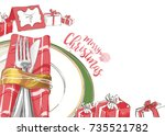 christmas table decorating... | Shutterstock .eps vector #735521782