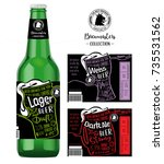 beer labels and neck labels on... | Shutterstock .eps vector #735531562