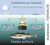 beam or outrigger trawler.... | Shutterstock .eps vector #735534178