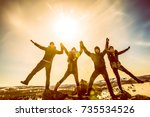 sun light fall on the friends.... | Shutterstock . vector #735534526