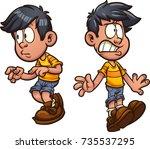 cute cartoon boy cautious and... | Shutterstock .eps vector #735537295
