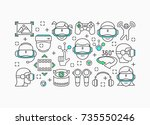 virtual reality concept with... | Shutterstock .eps vector #735550246