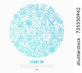 start up concept in circle with ... | Shutterstock .eps vector #735550942