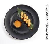 spring rolls   fried vietnamese ... | Shutterstock . vector #735553918