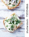 canapes with cream cheese ...   Shutterstock . vector #735554866