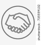 business handshake solid icon ... | Shutterstock .eps vector #735559132