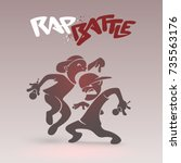 rap battle funny poster with a... | Shutterstock .eps vector #735563176
