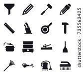 16 vector icon set   funnel ... | Shutterstock .eps vector #735563425