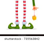elf's legs and elf's hand with... | Shutterstock .eps vector #735563842