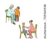 vector flat pediatricians  teen ... | Shutterstock .eps vector #735564538