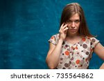 angry frustrated caucasian... | Shutterstock . vector #735564862