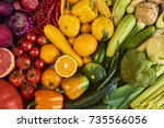 colorful fruits and vegetables... | Shutterstock . vector #735566056
