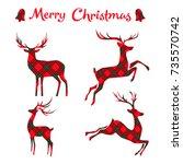 Set Of  Christmas Deer On...