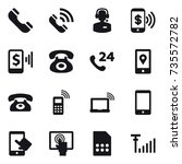 16 vector icon set   phone ... | Shutterstock .eps vector #735572782