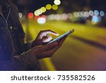 girl pointing finger on screen... | Shutterstock . vector #735582526