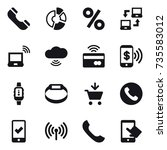 16 vector icon set   phone ... | Shutterstock .eps vector #735583012