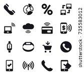 16 vector icon set   phone ...   Shutterstock .eps vector #735583012