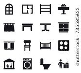 16 vector icon set   arch... | Shutterstock .eps vector #735585622