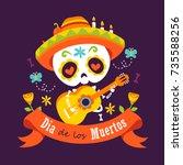 vector cartoon style violet day ... | Shutterstock .eps vector #735588256