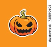 pumpkin vector  halloween... | Shutterstock .eps vector #735590608