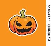 pumpkin vector  halloween... | Shutterstock .eps vector #735590608