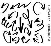hand drawn set of arrow... | Shutterstock .eps vector #735591946